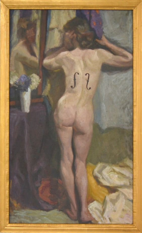 Nude with Man Ray Stripes by Hans-Peter Feldmann