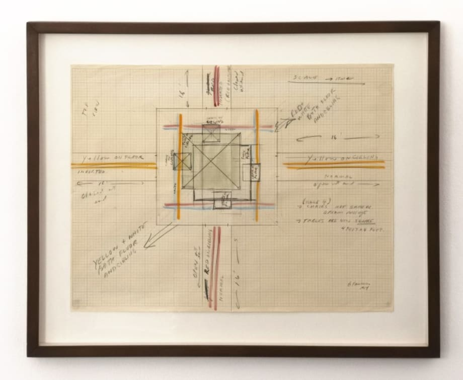 (Dream Passage with 4 corridors, for Venice) TOP / CHAIRS ARE SAME AS / DREAM PASSAGE / TABLES ARE NOW SQUARE / 4 FEET x 4 FEET by Bruce Nauman