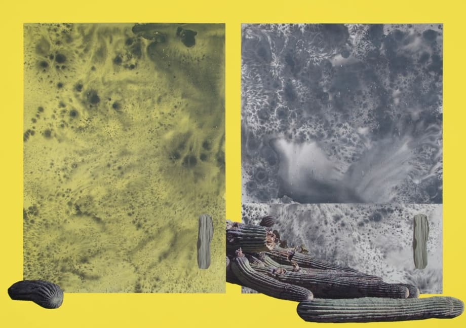 Untitled Painting in Yellow with Illustrations by Sayre Gomez