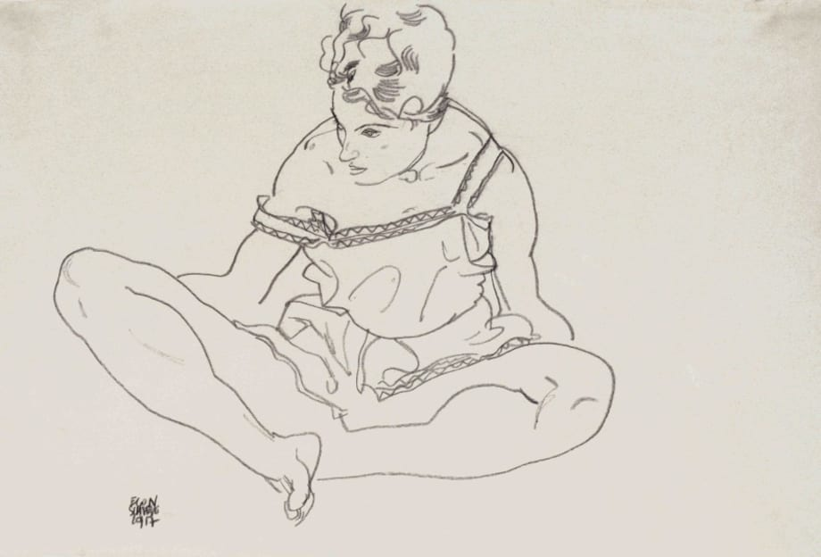 Adele (the artist's sister in law) with Crossed Legs by Egon Schiele