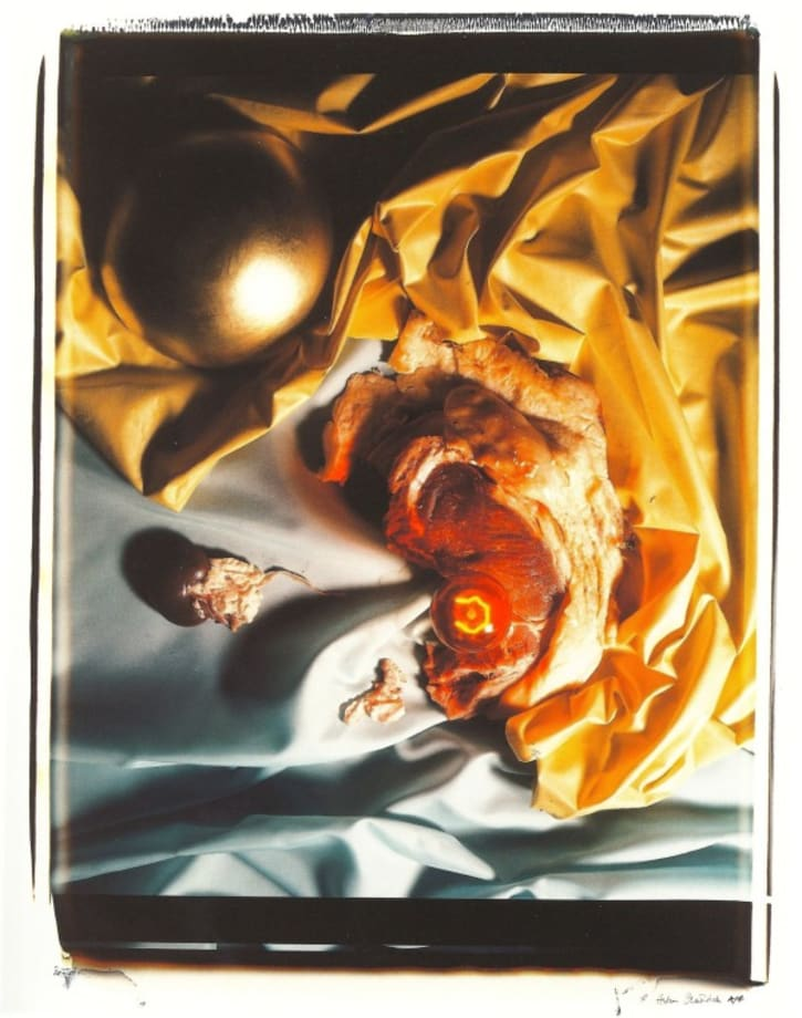 Meat Abstract No. 8: Gold Ball / Steak by Helen Chadwick
