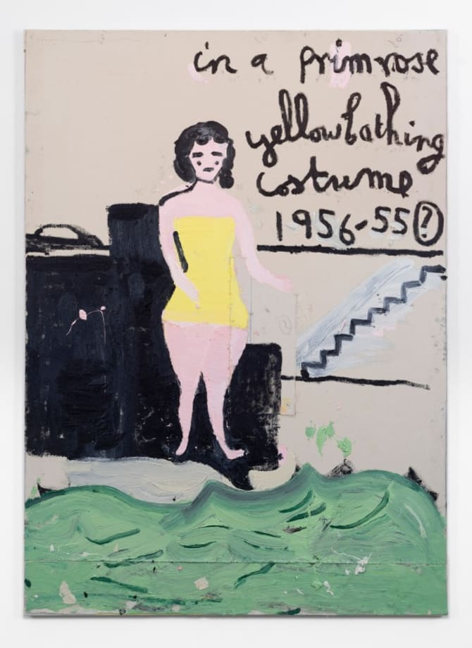 Yellow Bathing Costume, Steps by Rose Wylie