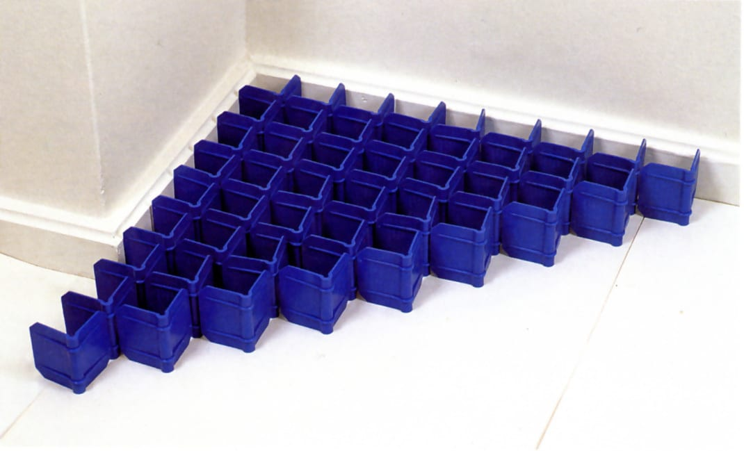 Nine blue evangle by Carl Andre