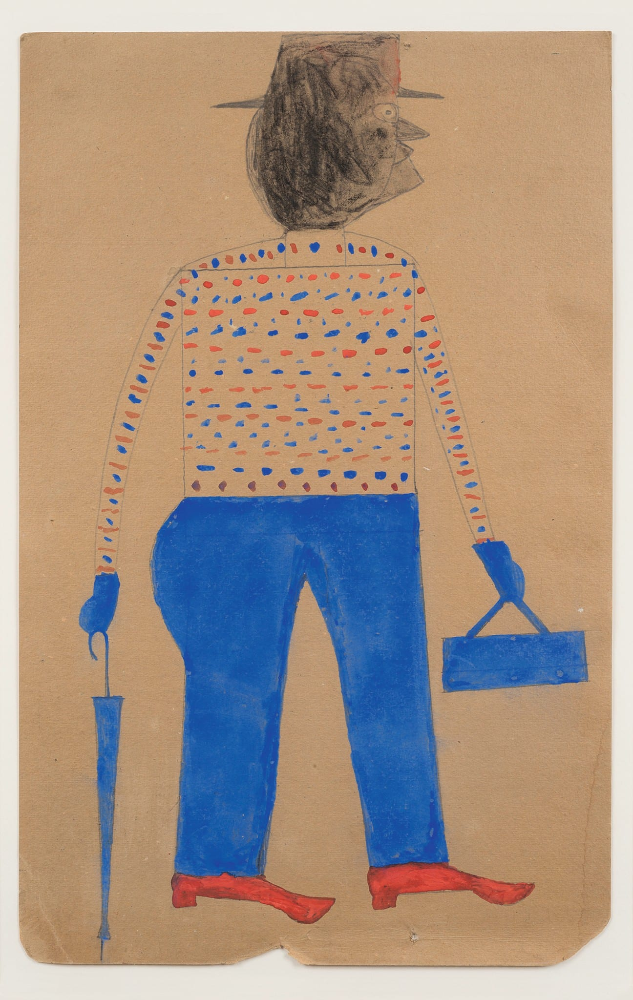 Man with Red Shoes and Umbrella by Bill Traylor