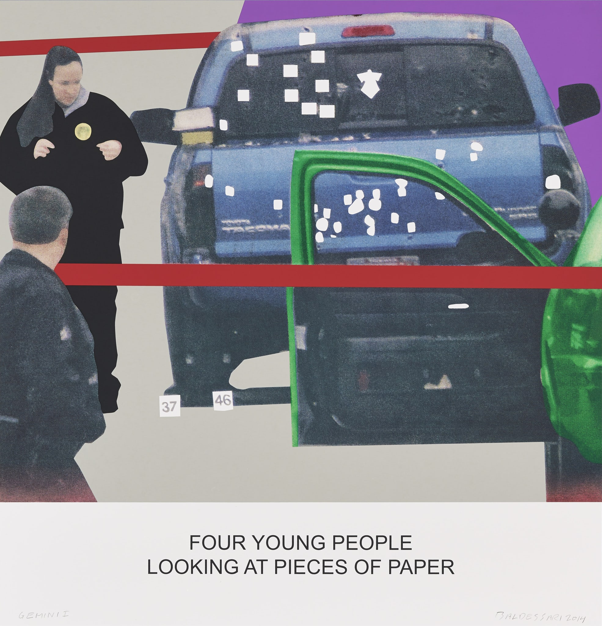 The News: Four Young People Looking at Pieces of Paper by John Baldessari
