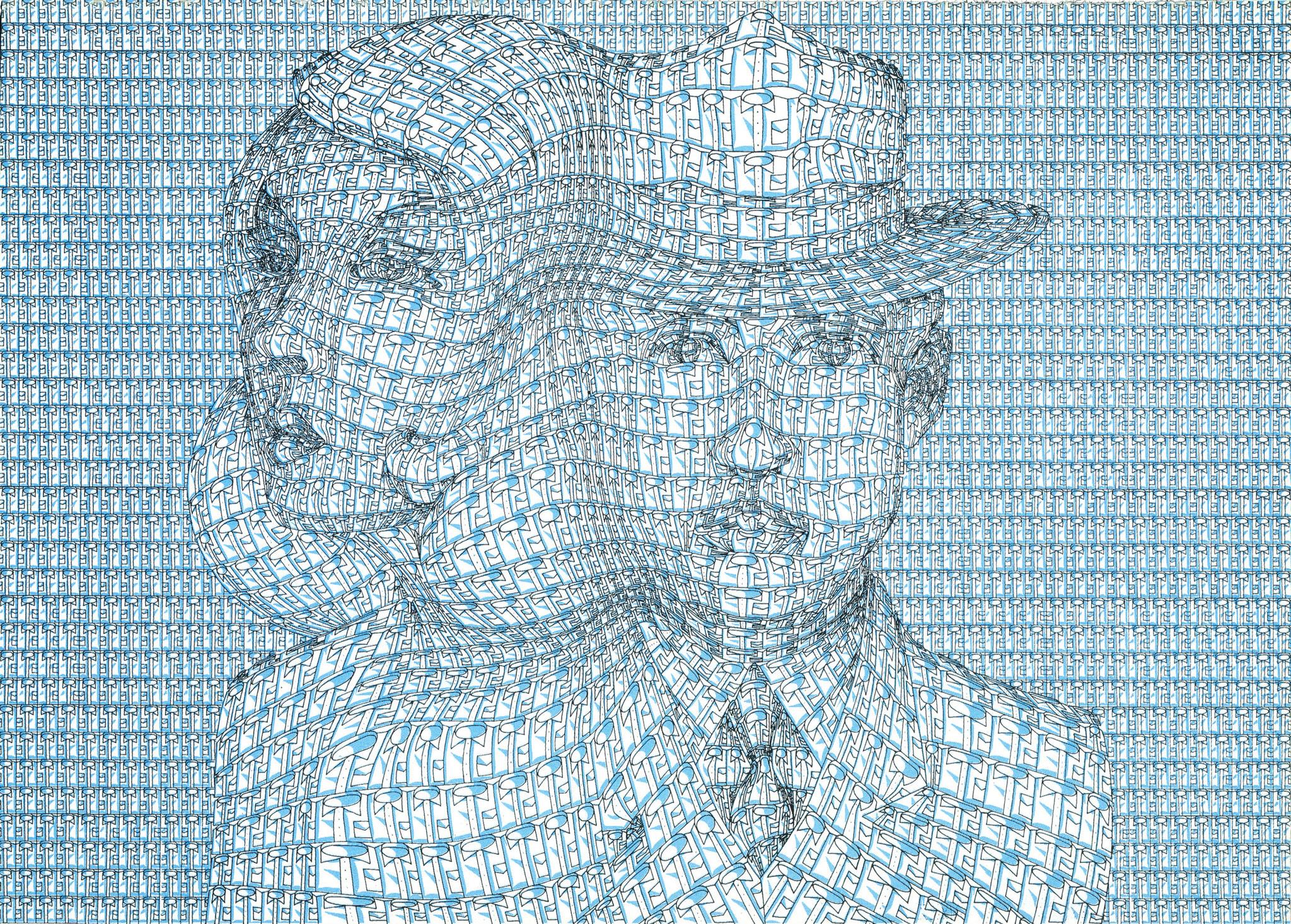 Hemdenleben (blaue Version) by Thomas Bayrle