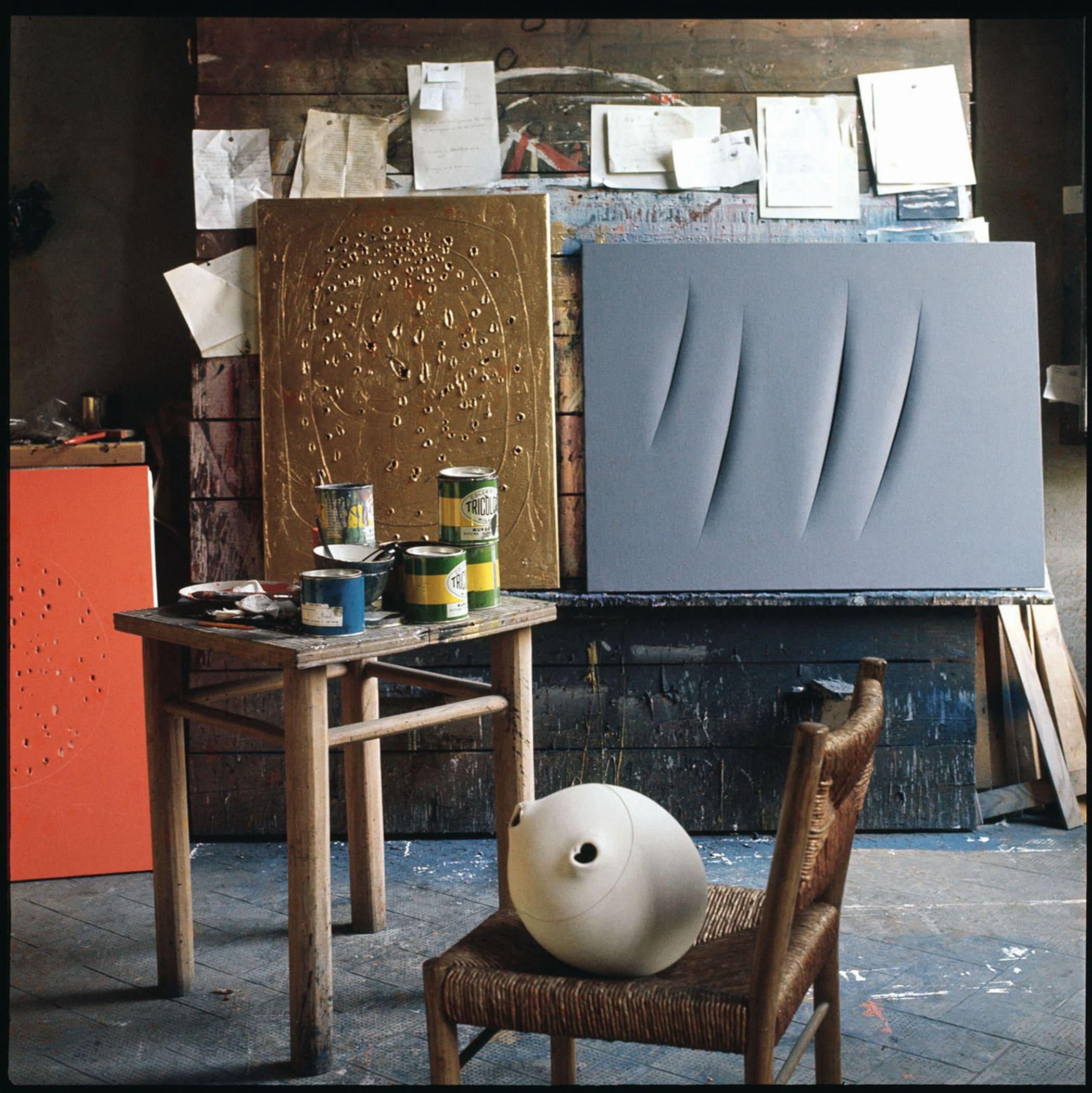 Lucio Fontana, Studio, Milano by Ugo Mulas