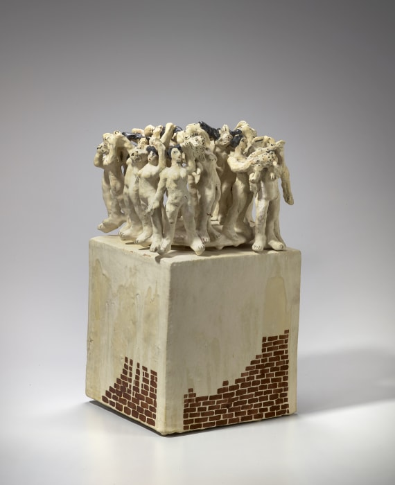 Untitled (Nude Figures on Box with Bricks) by Viola Frey