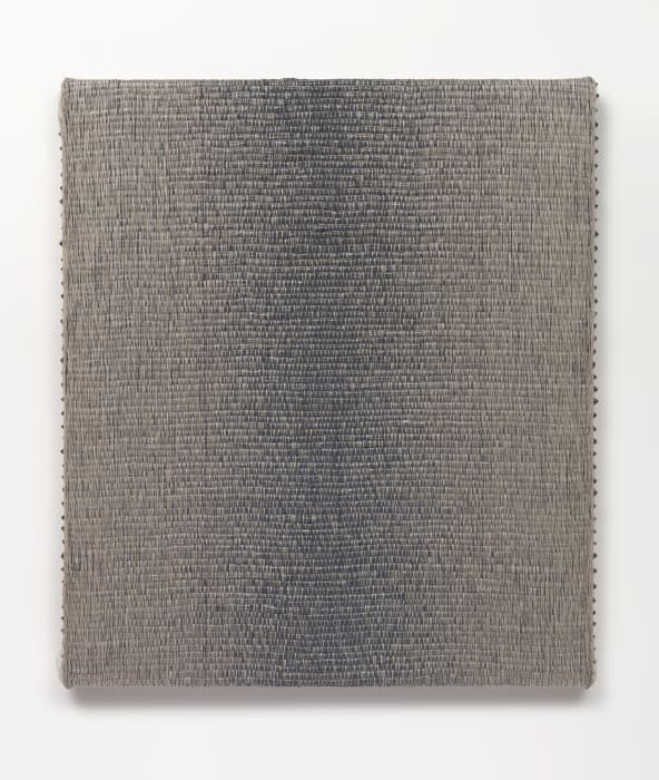 Woven Vertical Reflected Linear Gradient as Weft (Center, Gray) by Analia Saban