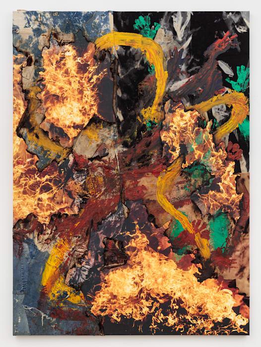 Painting with history (YELLOW wear my clothes breathe through my skin) by Korakrit Arunanondchai