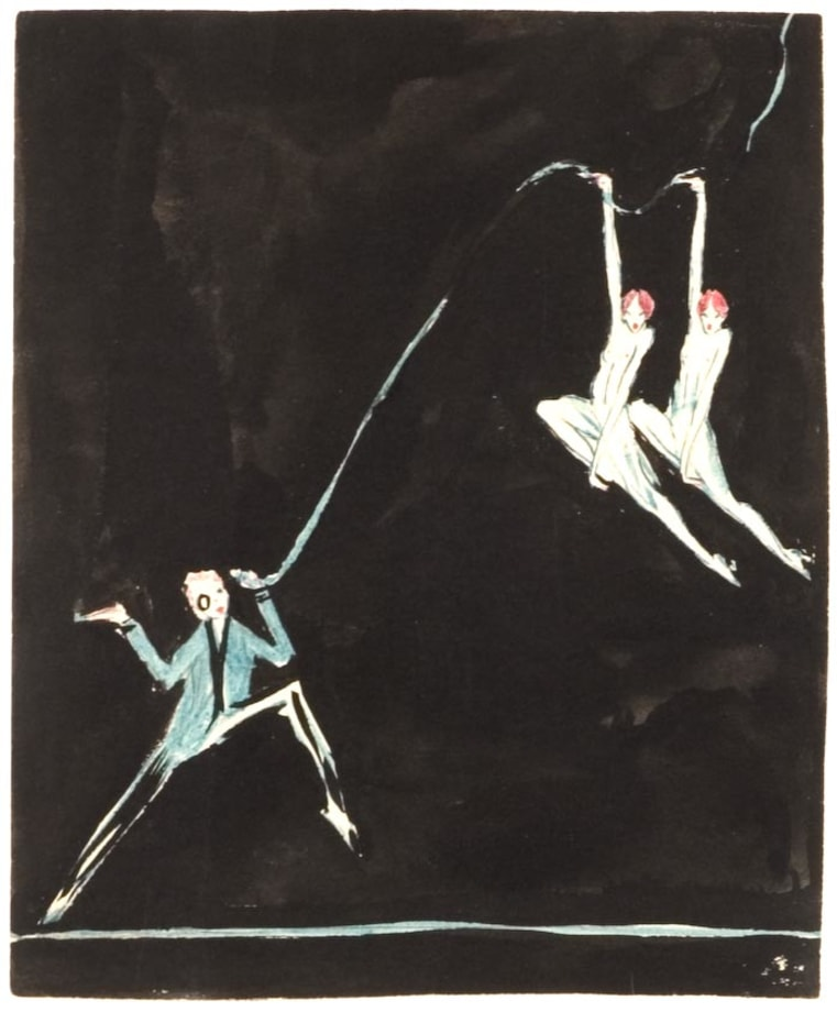Man with Monocle and Two Floating Dancers by Clara Tice
