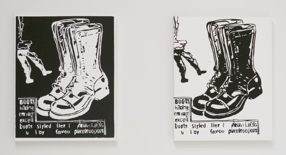 Paratrooper Boots (Negative); Paratrooper Boots (Positive) by Andy Warhol