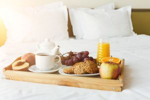 Healthy Complete Breakfast served in bed