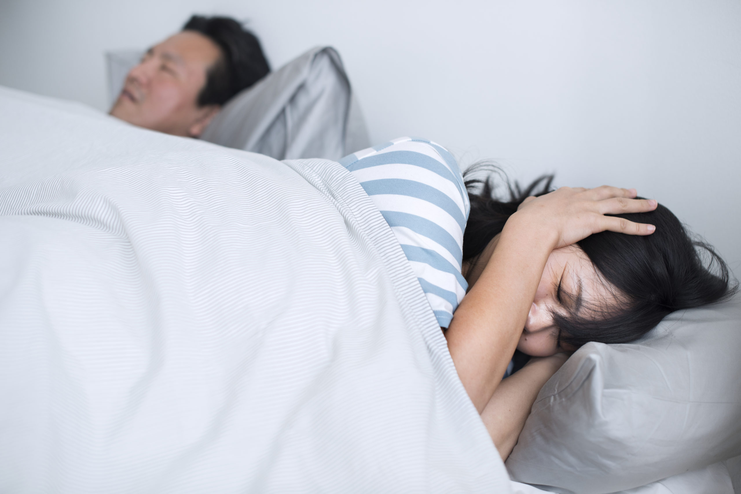 Husband disrupting wife's sleep with his loud snoring