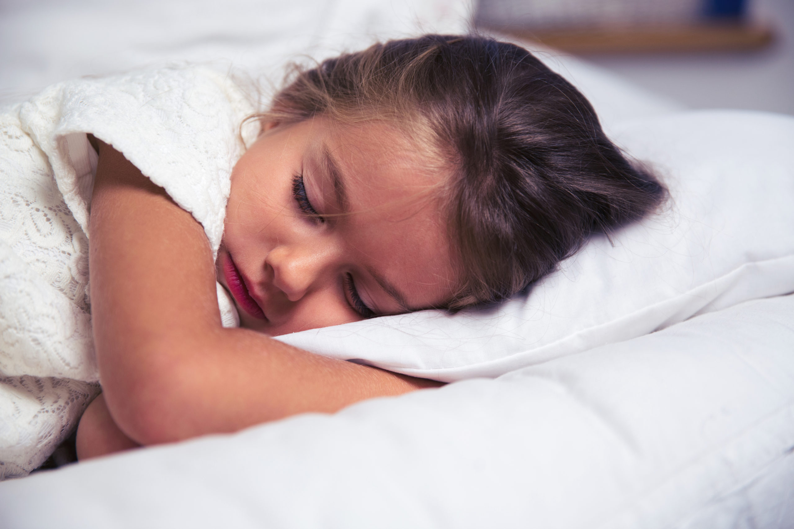 Little girl sleeping in bed with night terrors