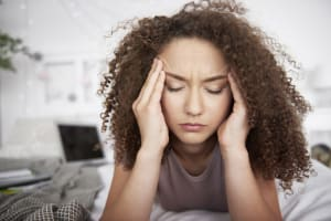 young woman has insomnia due to anxiety