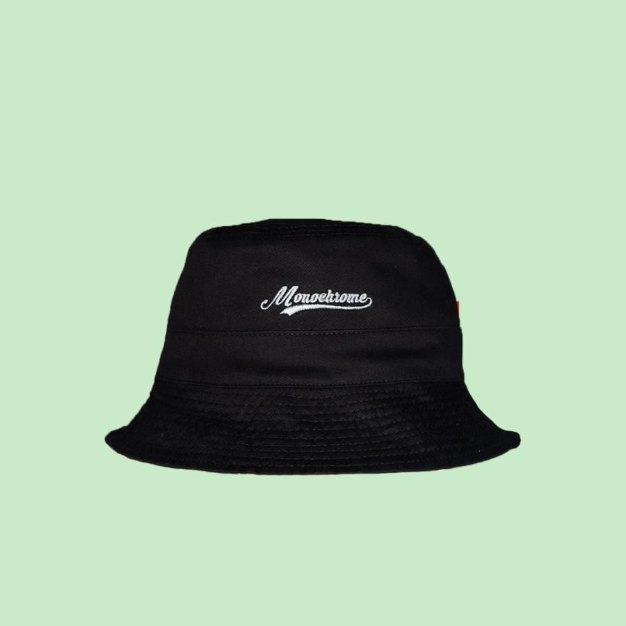 Topi Bucket Hat Monochrome Black Army Mono Motif Bolak Balik