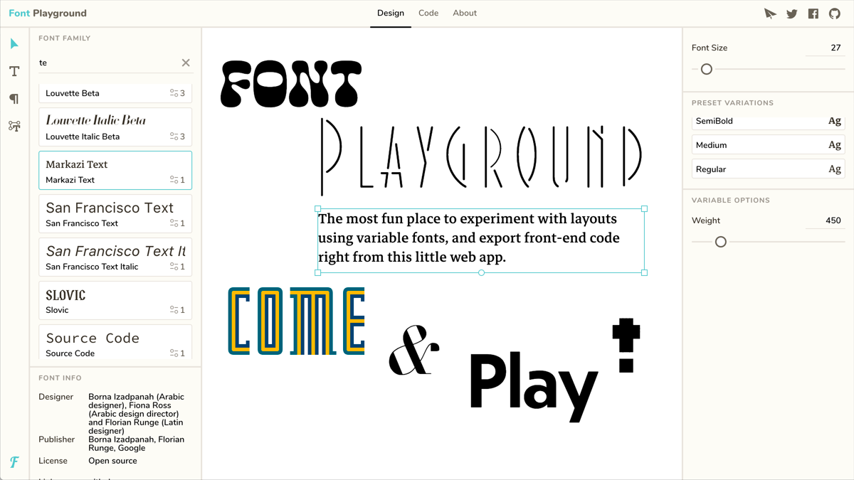 Font Playground — Play with variable fonts!