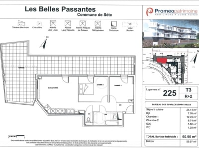 Sete - 3 pièce(s) - 60 m2