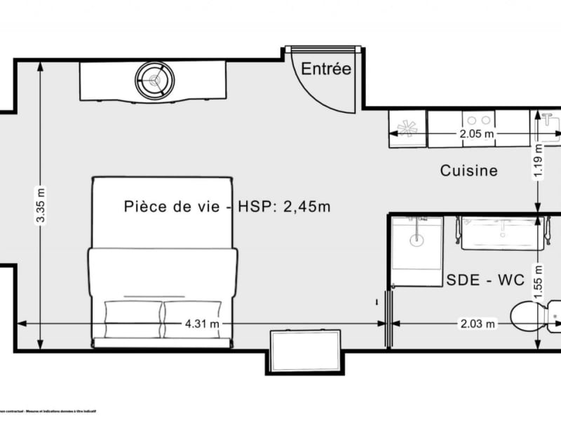 Vente appartement Paris 15ème 243800€ - Photo 9