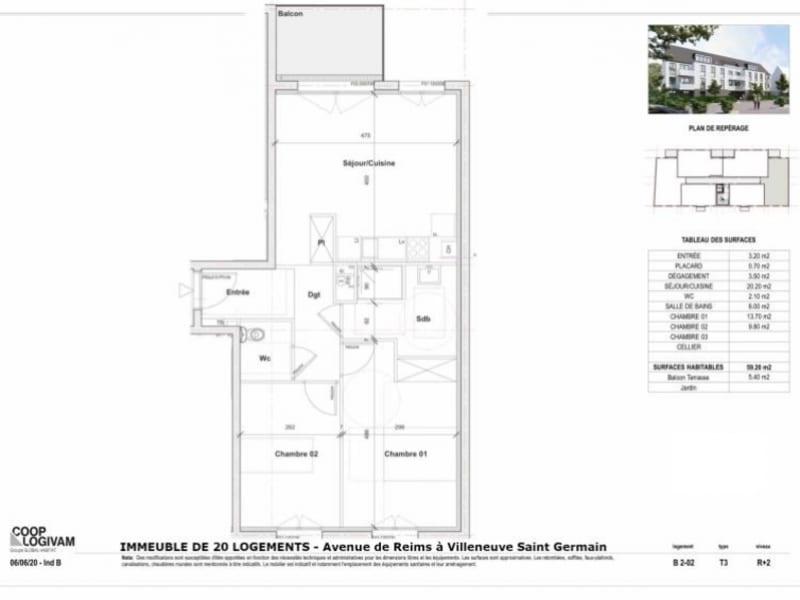 Sale apartment Villeneuve st germain 150205€ - Picture 2