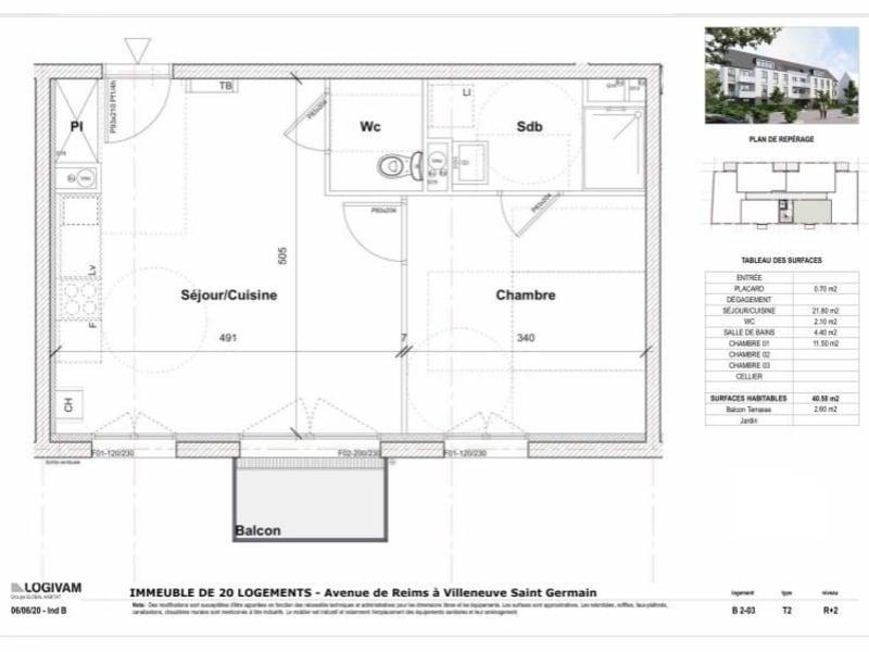 Sale apartment Villeneuve st germain 101168€ - Picture 2