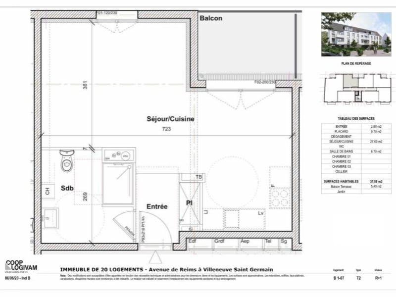 Sale apartment Villeneuve st germain 93577€ - Picture 2