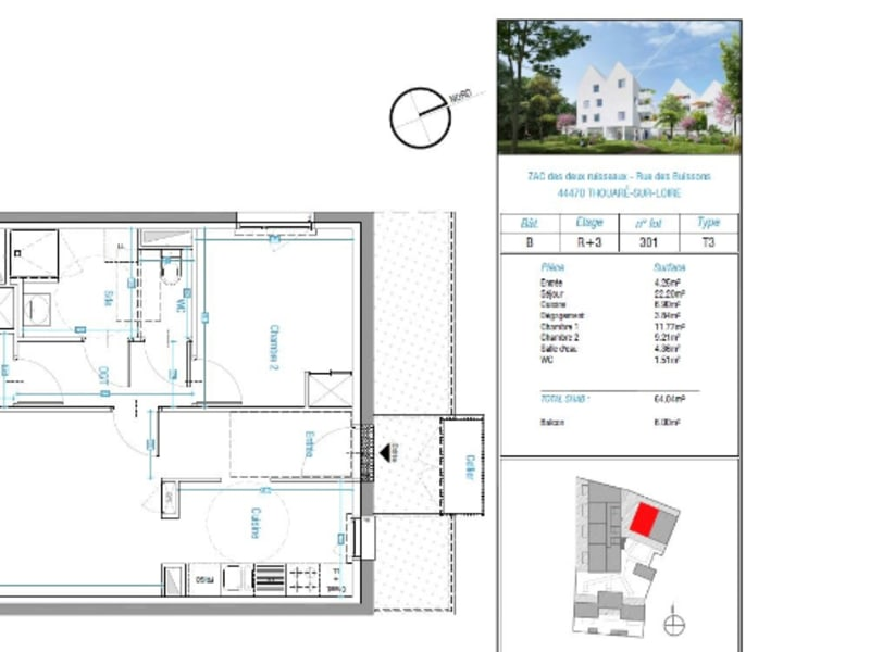 Alquiler  apartamento Thouare sur loire 708€ CC - Fotografía 1