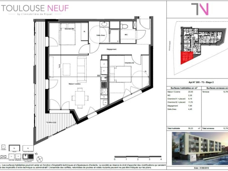Vente appartement Toulouse 273000€ - Photo 7