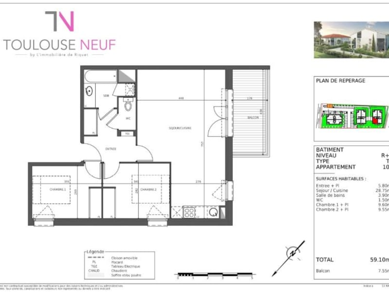 Vente appartement Cugnaux 232000€ - Photo 8