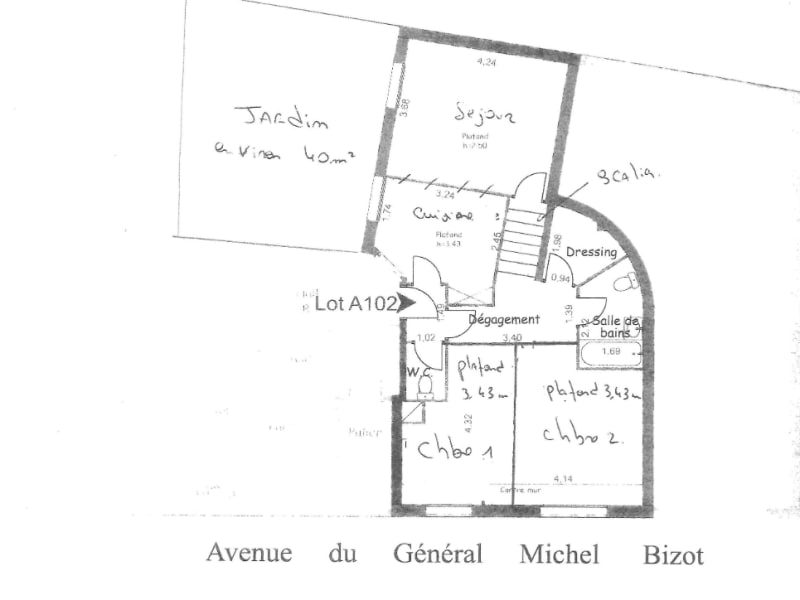 Av Michel Bizot / Promenade plantée  3 P 60m² + 40m² de JARDIN