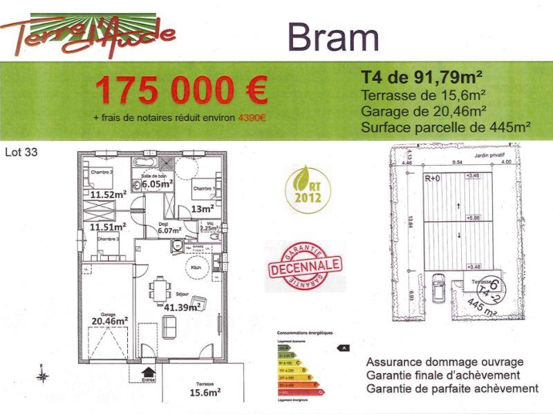 Proche centre Bram, villa de plain pied en VEFA