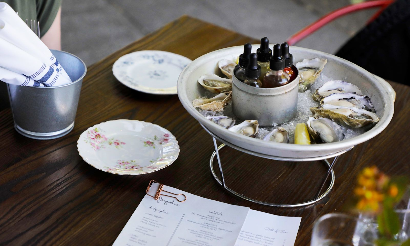 Enjoy oysters served with house-made, infused vinegars at Jacqueline in Southeast Portland's Division/Clinton neighborhood,