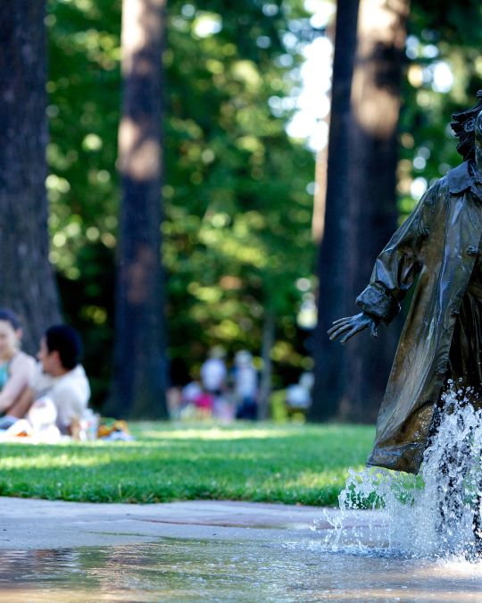 The Beverly Cleary Sculpture Garden includes artists Lee Hunt's statues of Ramona Quimby, Henry Huggins and Henry\'s dog Ribsy.