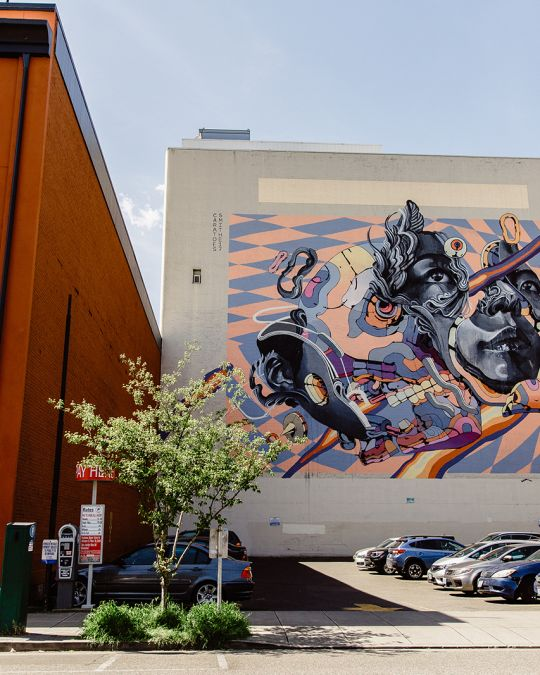 Spot this eye-catching mural on Northwest Fourth Avenue and Everest Street in Portland\'s Old Town Chinatown.