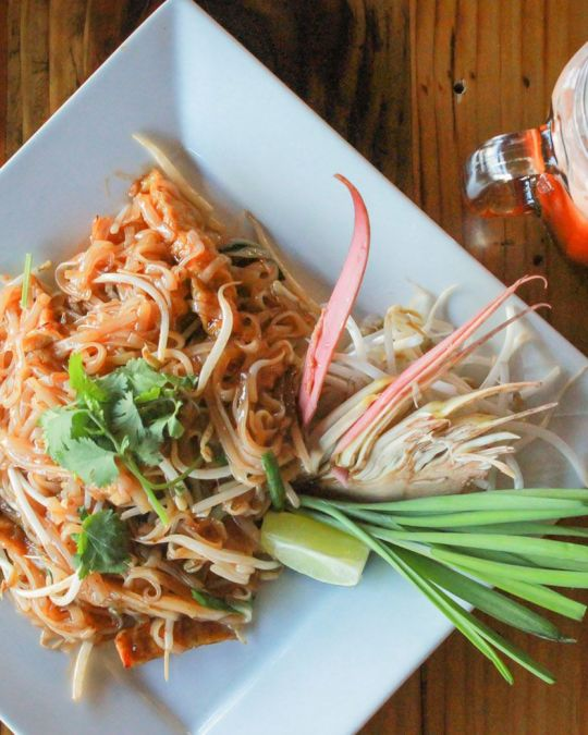 Dig into a plate of authentic vegetarian pad Thai at KaTi Portland.
