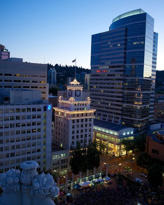 Enjoy a sunset view of downtown Portland from Departure\'s 15th-floor patio.