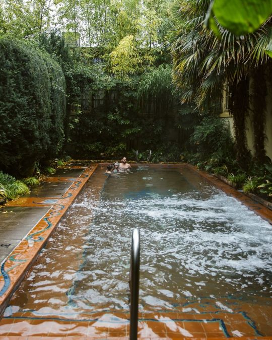 Relax in the warm soaking pool at McMenamins Kennedy School.
