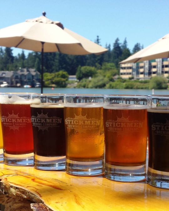 Sip fresh-brewed IPAs on a sunny, breezy patio at Lake Oswego\'s Stickmen Brewing Co.