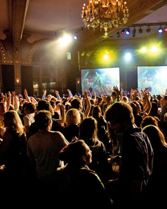 The Crystal Ballroom hosts the 80s Video Attack dance party every month.
