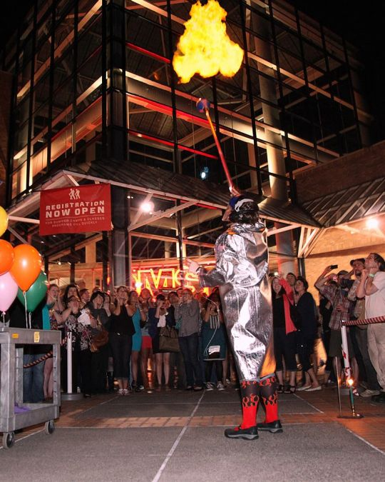 """A demo of gases\' explosive properties at OMSI After Dark\'s annual \""""Fire & Ice\"""" event."""