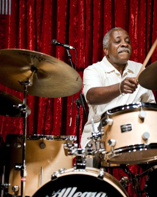 Local jazz legend Mel Brown drums up a storm with his combo The Mel Brown Quartet.