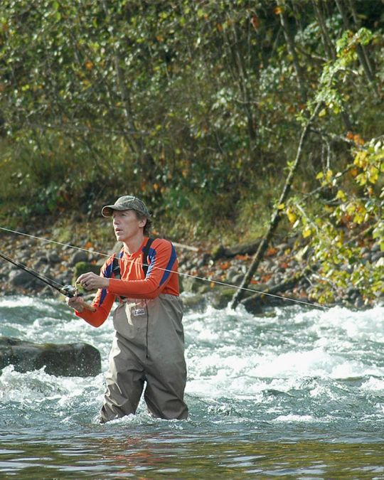 The Clackamas River is a perfect coho fishing spot close to Portland.