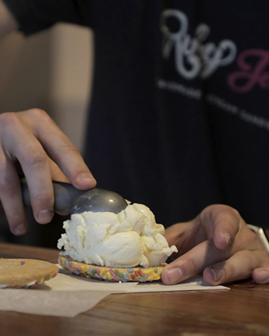 Craft your own unique, handmade ice cream and cookie sandwich at Ruby Jewel.