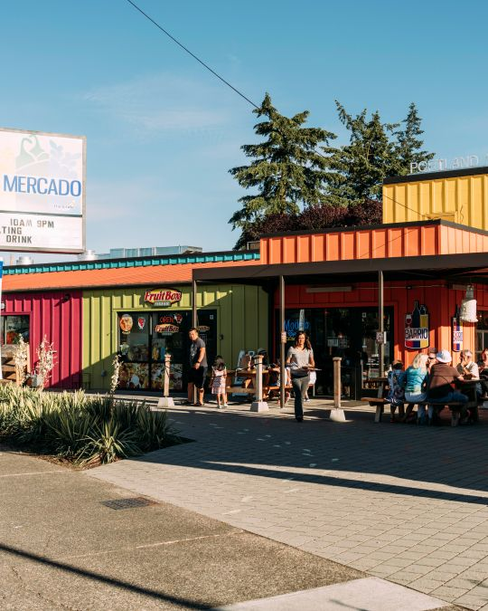 The Portland Mercado offers a neighborhood grocery, meat market, coffee shop, food cart pod and more.