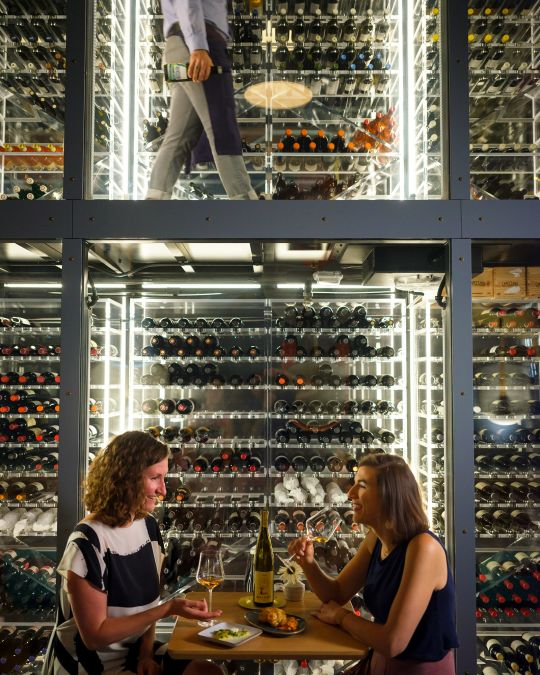 At renowned Southeast Portland wine bar Enoteca Nostrana, guests can sit alongside the bar\'s futuristic, two-story wine cellar.