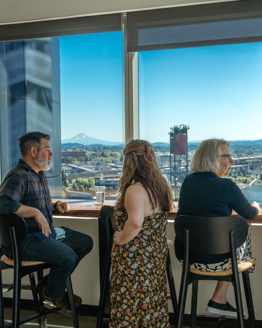 Travel Portland staff take a moment to relax in our break room.