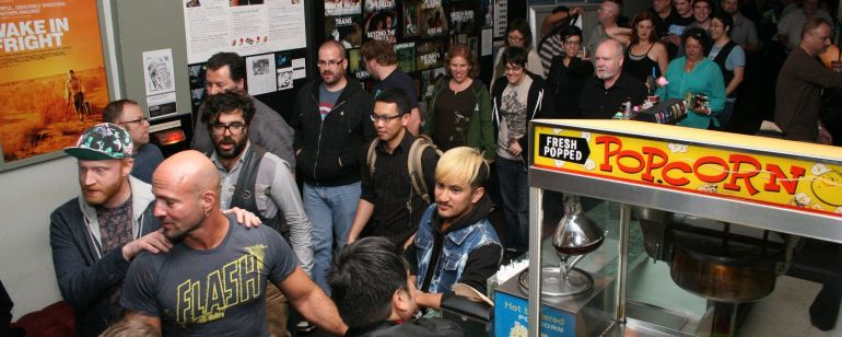 Cinephiles line up for a Portland Queer Film Festival screening.