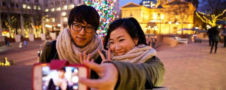 "Grab a selfie in front of Portland\'s holiday tree at Pioneer Courthouse Square (also known as the city\'s ""living room\"")."