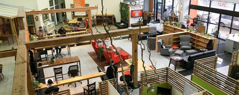 Located on Northeast Sandy Boulevard, HatchLab PDX offers a variety of spots to co-work.